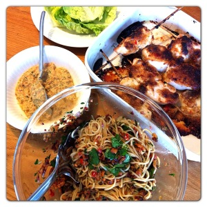 Satay and spicy noodle salad