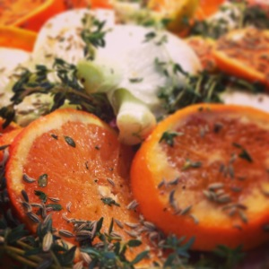 Roasted chicken and Clementines